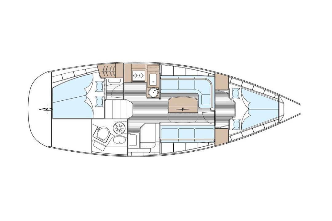 Bavaria 33C layout charter boat Phuket Thailand