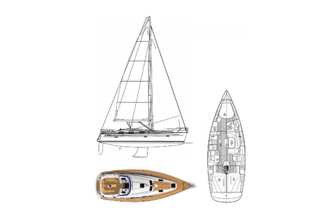 Bavaria 39C layout _ sail plan charter boat Phuket