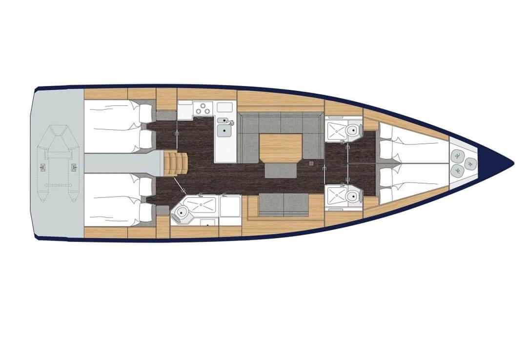 Bavaria 45 Holiday layout charter Boat Phuket