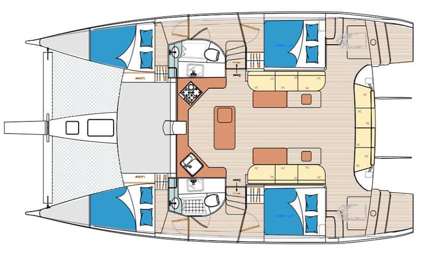 Island Spirit 41 Layout plan charter Phuket