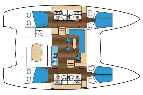 Lagoon 40 layout sailing catamaran Phuket