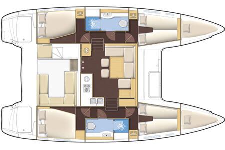Lagoon 400 S2 layout charter Phuket