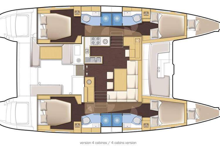Lagoon 450 layout plan charter yacht Phuket