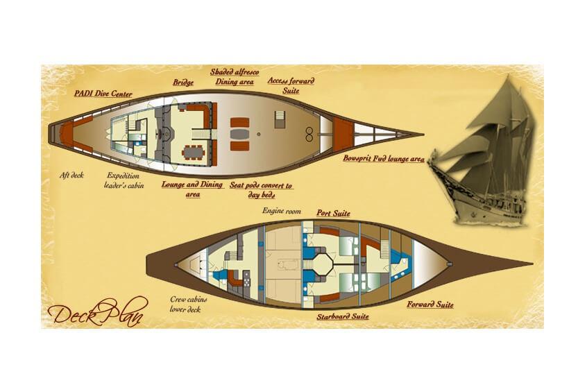 Si Datu Bua Layout Charter Yacht Bali