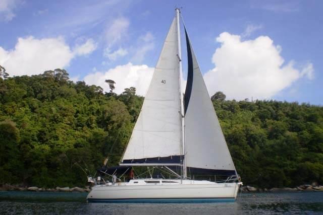 Sun Odyssey 40 under sail boat Phuket