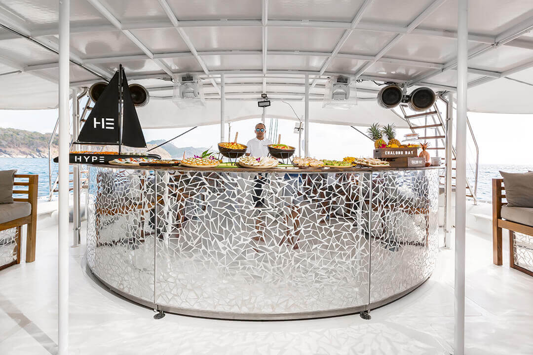 Hype Bar area charter catamaran Phuket